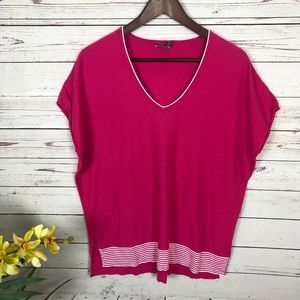 Vince Pink Stripe Knit Relaxed V-Neck Top Tee - T8